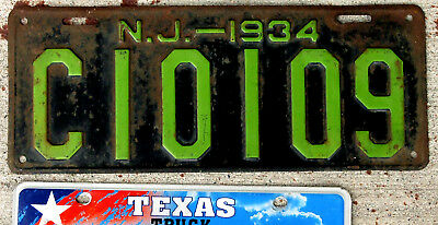 1934 Green on Black New Jersey License Plate