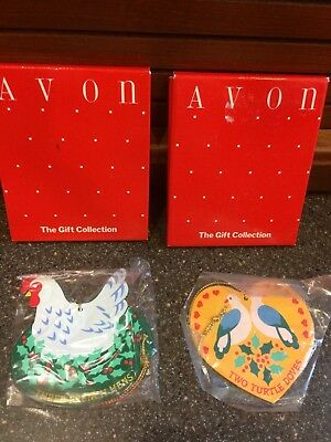 2 Vintage Avon Christmas Tree Ornaments 12 Days Turtle Doves French Hens