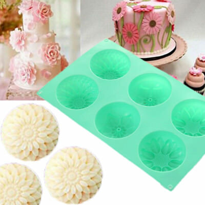 E3FF 6Cavity Flower Shaped Silicone DIY Handmade Soap Candle Cake Mold Mould