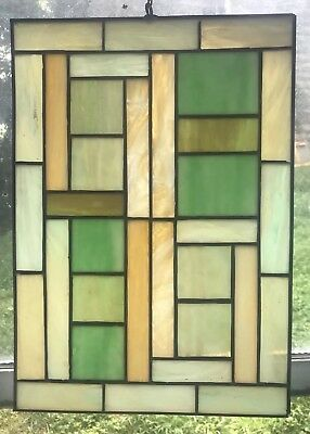 Vintage Stained Glass- Green, Cream, Tan
