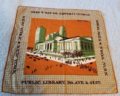 Vintage Tammis Keefe Handkerchief-NY Public Library-See America First series
