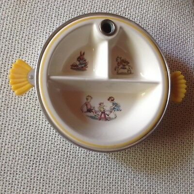 Vintage Majestic Made In USA Child's divided, feeding dish, children, animals