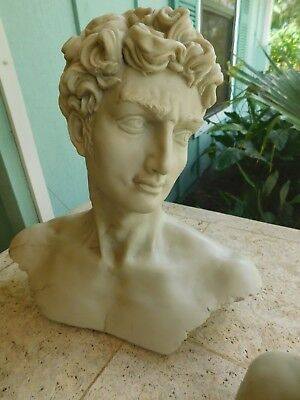 """Decoline Faux Marble Resin Classical Bust of Greek-Roman """"DAVID"""""""