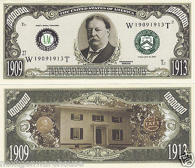 Two William H. Taft 27th US President Novelty Bills # P27