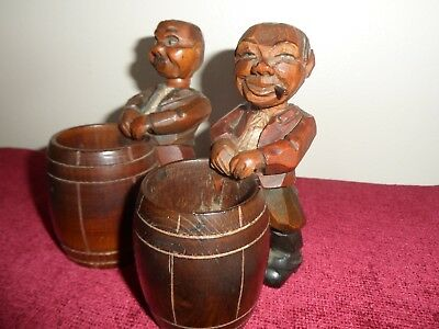 German Vintage Black Forest Carved wooden Match Holders.. Men ...moving part.