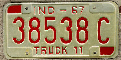1967 Red on White Indiana TRUCK 11 License Plate