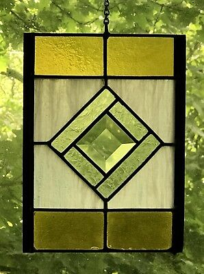 Vintage Stained Glass- Gold, Cream, White