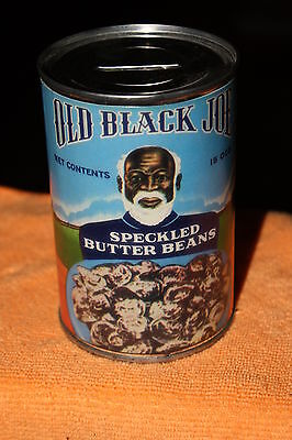 6 Vintage Black Americana Old Black Joe Speckled Butter Beans Can Bank with Key