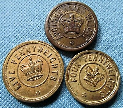Lot of 3 Old Brass Scale Weights Apothecary Drams & Pennyweights Troy Brass