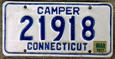 Blue on White Connecticut Camper License Plate with a 1977 Sticker