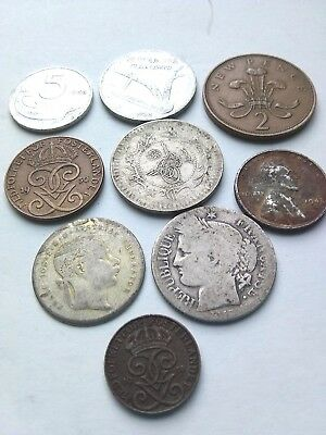 1849 -1971 world old mix (One cent 1943) COINS with silver France lot of 9 coins