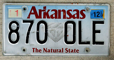 """Arkansas """"The Natural State"""" License Plate - Diamond Version with a 2012 Sticker"""
