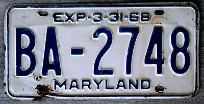 1968 Blue on White Maryland License Plate
