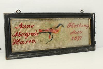 1897 Dated Cross Stitched Framed Sampler Antique Bird on Branches Unknown Words
