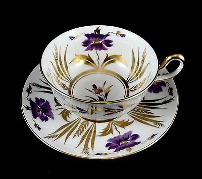 Royal Chelsea English Bone China White Purple Gold Cup and Saucer Pattern 182A