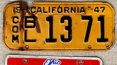 1947 Black on Orange California COMMERCIAL License Plate