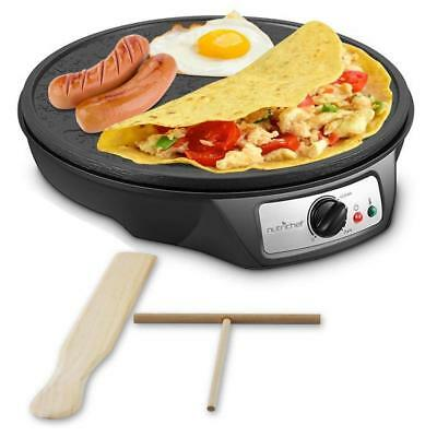 Nonstick 12-Inch Electric Crepe Maker - Aluminum Griddle Hot Plate Cooktop...