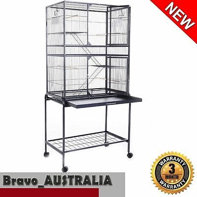 Pet Bird Cage 155cm Wrought Iron Parrot Aviary Stand-alone Budgie Wheels Black