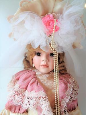 """28"""" Janis Berard Porcelain Victorian Girl Doll Signed Numbered LE #867/1000"""
