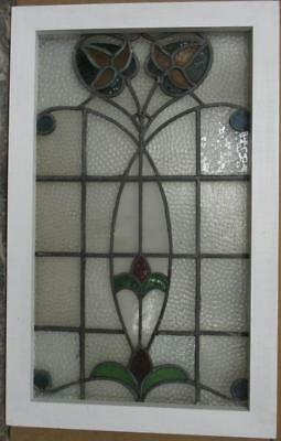 """MID SIZED OLD ENGLISH LEADED STAINED GLASS WINDOW Stunning Floral 19.5"""" x 31"""""""