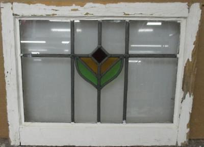 """OLD ENGLISH LEADED STAINED GLASS WINDOW Simple Abstract Design 21.5"""" x 16.5"""""""