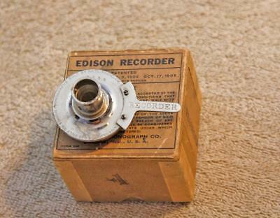 Edison 2 Minute Cylinder Phonograph Side Arm Recorder & box, Good Cutter