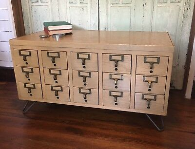 VINTAGE MID CENTURY Modern Card Catalog Table Wine Cabinet Coffee - Mid century modern card table