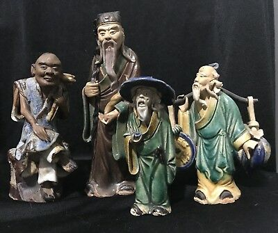 Antique Chinese Shiwan Mudmen Lot Of 4 Figures