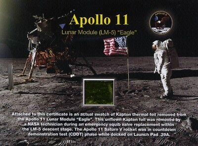 Apollo 11 Lunar Module Kapton Foil on Gorgeous Certificate