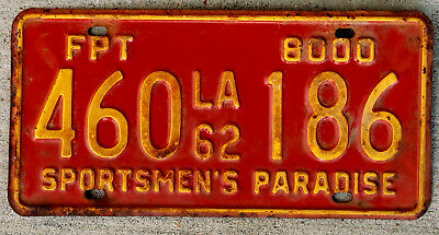 1962 Yellow on Red Louisiana 8000 Lbs. Forest Products Truck [FPT] License Plate