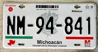 2012 Red Green Black and White Michoacan Mexico License Plate with State Seal