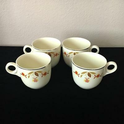 Vintage Hall China ~Jewel Tea Autumn Leaf~ 4 St. Denis Cups/mugs!