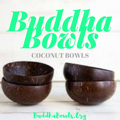 Large COCONUT BOWLS: Set of 4 (w/ Spoons) Coconut Bowls by BUDDHA BOWLS