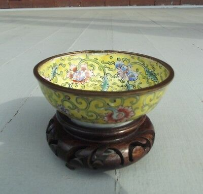 Antique Chinese Canton Enamel Bowl Dish Yellow with Flowers