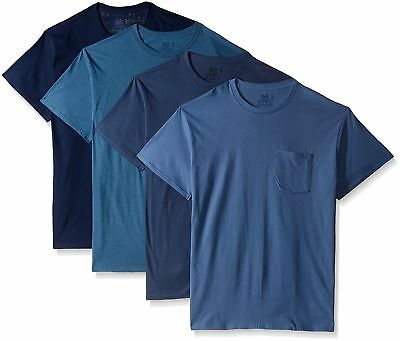 Fruit of the Loom 4 Mens Medium 38-40 Pocket T-Shirt Multipack Assorted Blues