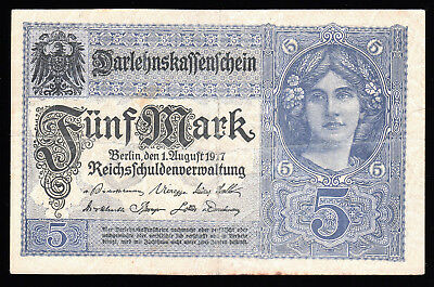 GERMANY- 5 MARK BANKNOTE 1917 P-56a FINE - ABOUT VERY FINE