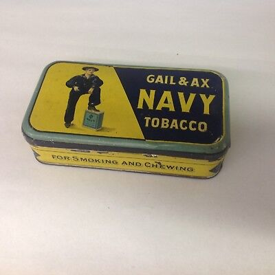 Vintage Gail And Ax Navy Tobacco Tin 736-V