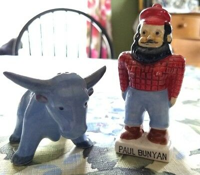 Rare Vintage Porcelain PAUL BUNYAN & BABE THE BLUE OX Salt & Pepper Shakers