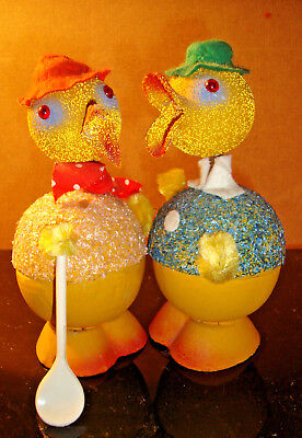 VTG 2 EASTER  CHICK & DUCK NODDER Candy Container W German MACHE BOBBLEHEAD