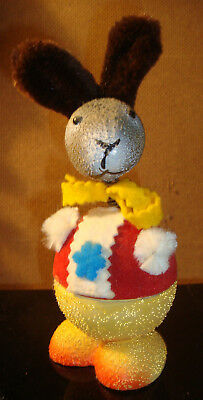 VTG EASTER BUNNY RABBIT NODDER Candy Container W German MACHE BOBBLEHEAD