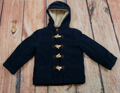 Baby Boden Corduroy Coat Toddler Boy Size 2-3Y Navy Blue Hooded Fleece Lined
