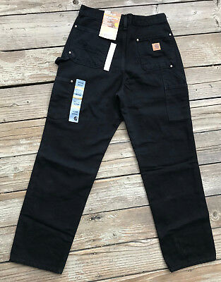 Carhartt B136 BLACK- Double Front Washed Duck Loose-Original Fit Pant-MANY SIZES