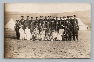 WW1 Antique BRITISH Real Photo RPPC Postcard MIDDLESEX SOLDIERS / MANY MEDALS
