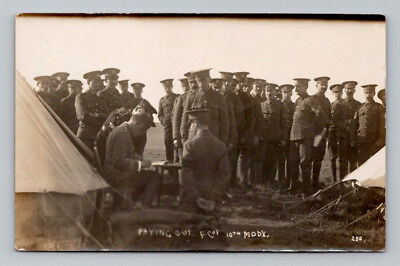 WW1 Antique BRITISH Real Photo RPPC Postcard MIDDLESEX SOLDIERS in Camp PAYDAY