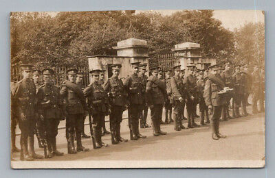 ANTIQUE Vintage WW1 BRITISH Real Photo RPPC Postcard MIDDLESEX  SOLDIERS