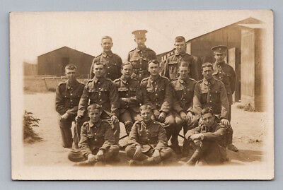 ANTIQUE WW1 Real Photo RPPC Postcard BRITISH SOLDIERS & OFFICERS in Uniform
