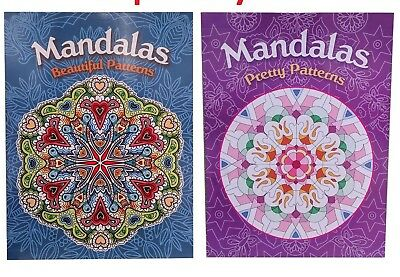 2x24 Pg + 12 Pencil Adult Mandalas Colouring Book Relaxing Stress Peace Children