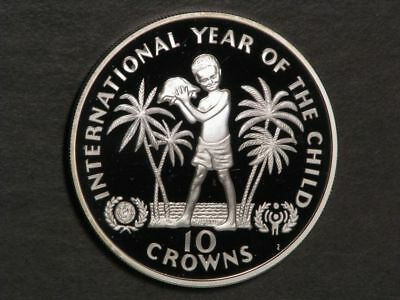 TURKS & CAICOS ISLANDS 1982 10 Crowns Year of the Child Silver Proof - Mtg=7928