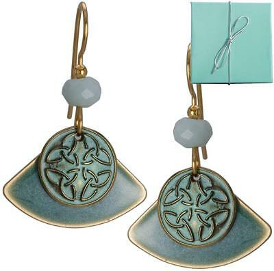 Blue Green Layered Celtic Symbol on Fan Earring with Bead Gold-tone over...