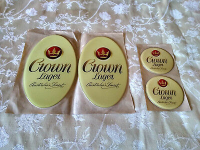 Crown Lager Beer Promotional Stickers X 4 - Bar Brew Carlton FREEOZPOST